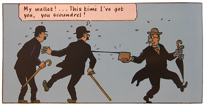 Thomson has his wallet stolen, from Herge's The Secret of the Unicorn (Tintin)