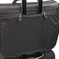 Detail of Tumi Pocket Allowing Bag to Mount on Extended Luggage Handles 